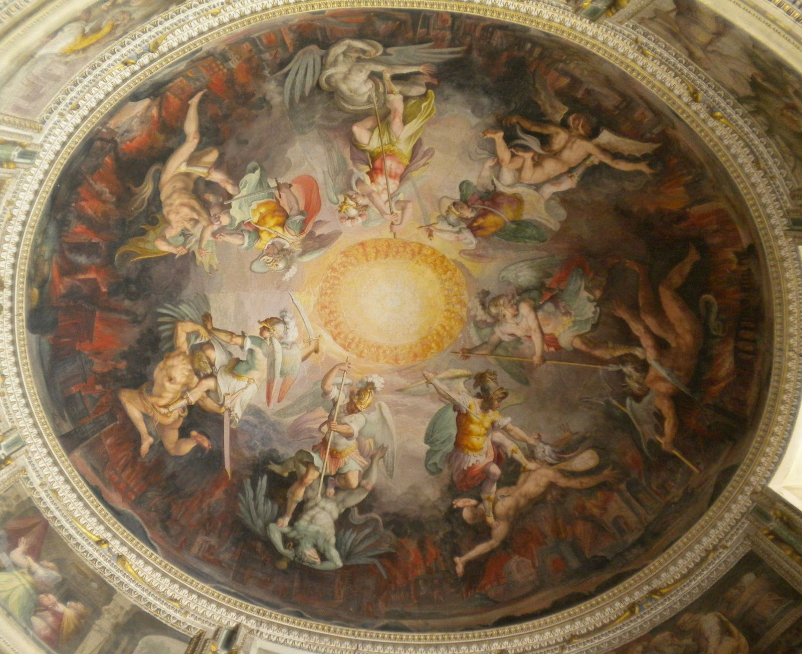 P O P Fall Ceiling Wallpaper Angels And Demons Ceiling Painting Of Angels Battling