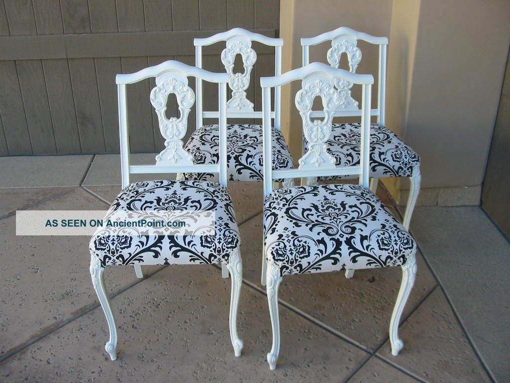 French Provincial Black And White Damask Dining Room