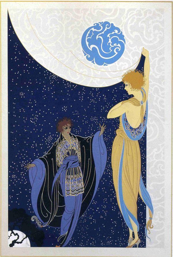 Nocturne - Erte Illustration Art Nouveau Deco Mucha