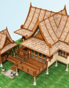 Wooden houses thai house arch hamper design plans bamboo timber homes blueprints for also pin by kawinpop on home pinterest rh