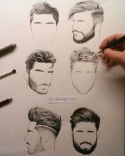 hair styles men pencil drawings