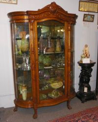 Antique Large Oak Curved Glass Curio China Cabinet | China ...