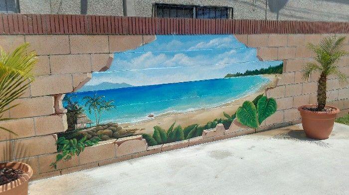 Outdoor Broken Cinder Block Beach Scenery Mural Idea As Seen On
