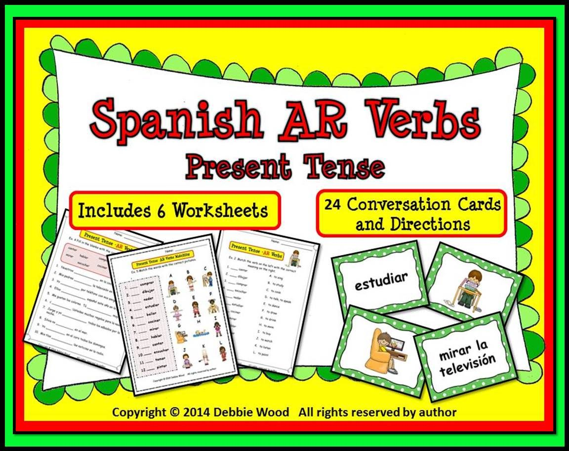 Spanish Ar Verbs Present Tense Includes 6 Worksheets And 24 Conversation Cards With Directions