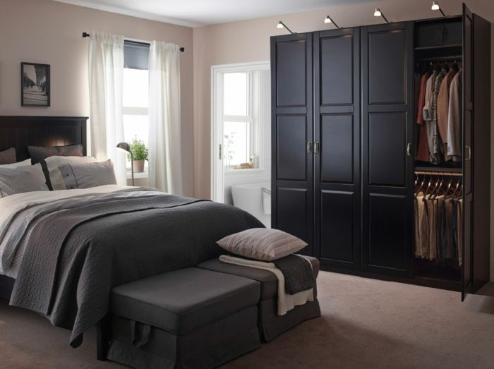 schwarzer kleiderschrank schlafzimmer einrichten ideen ikea  schlafzimmer  Pinterest  schwarz
