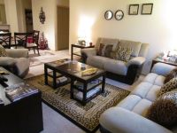Living room accented with cheetah print throw pillows and ...