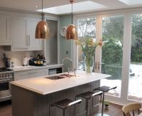 Chic copper lighting barstool kitchen island kitchen ...
