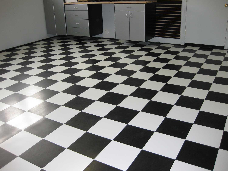 black and white vinyl floor tiles