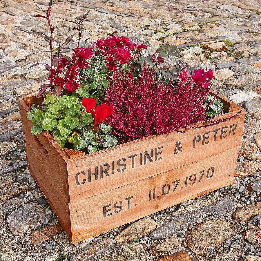 Personalised Crate Ruby Wedding Anniversary Planters Wedding