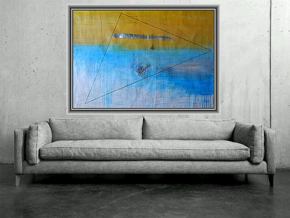 Items similar to huge abstract painting modern art large wall contemporary canvas blue and yellow acrylic mixed media collage charcoal design on also by ajdinovicstudio rh pinterest