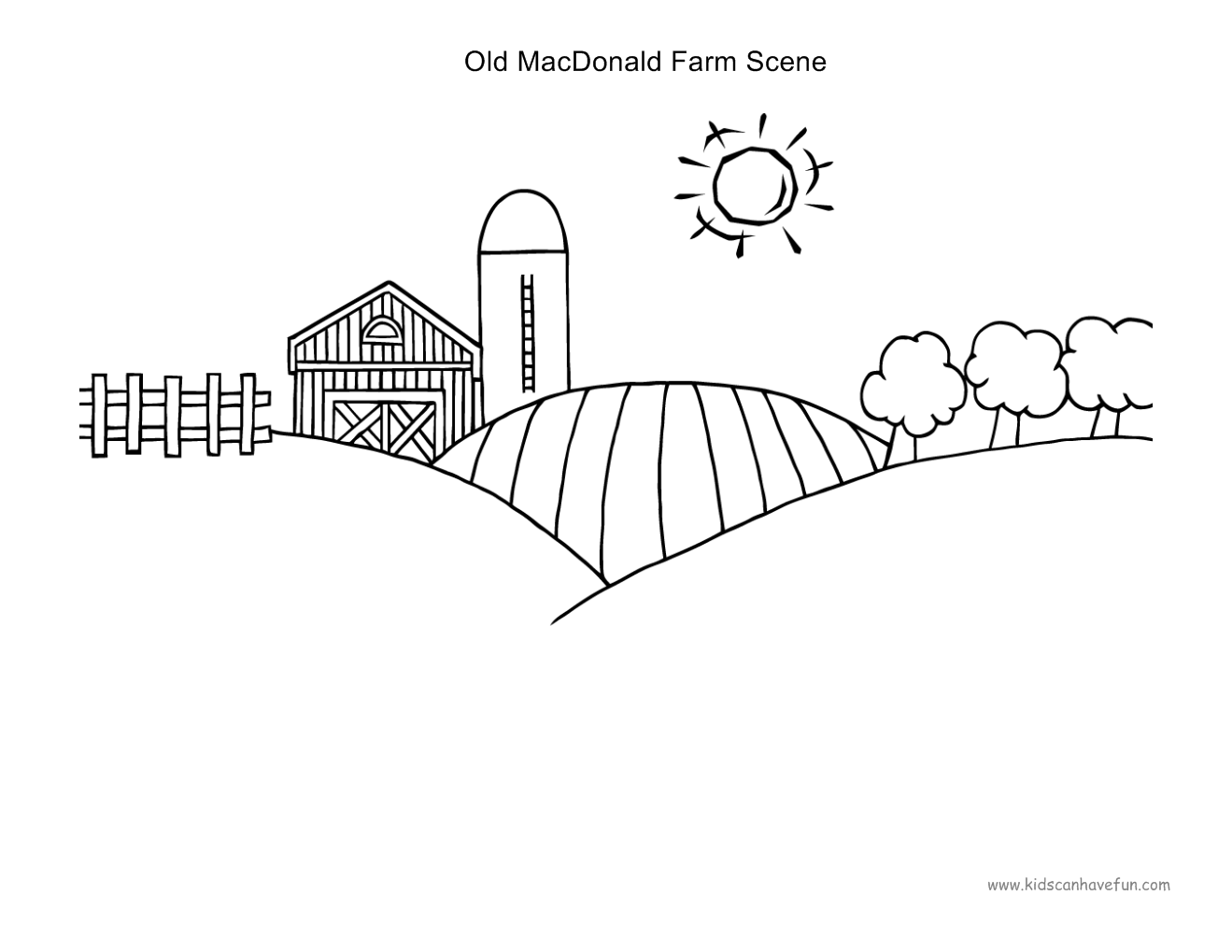 Old Macdonald Farm Scene To Paste B Amp W Farm Animals
