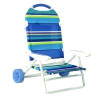 Folding Beach Chair on Wheels & Cart by Rio