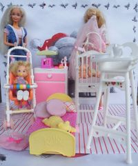 furniture BED BABY WORKS high chair pregnant barbie doll ...