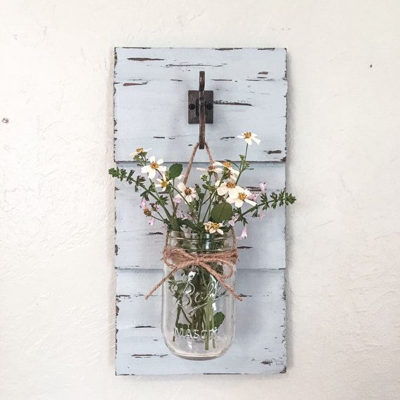 Jar wall sconce vase decor by hadleyandruth on etsy also rh pinterest