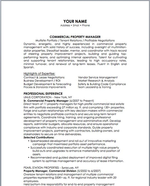 12 Property Management Resume Examples Sample Resumes Resume