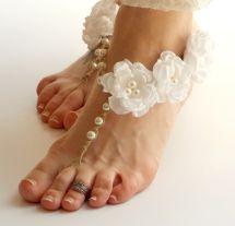 Wedding Barefoot Sandals White Bridal