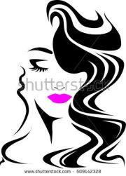 nice woman long hair style logo