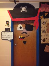 My classroom door, decorated as a pirate for Halloween