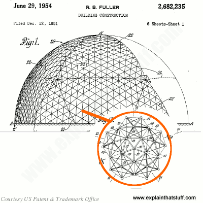 Design for geodesic dome structure by Richard Buckminster