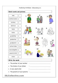 Vocabulary Matching Worksheet - Elementary 2.2 (Family ...