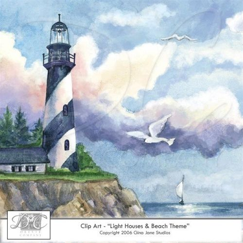 Lighthouse Summer Beach Ocean Nautical Clip Art