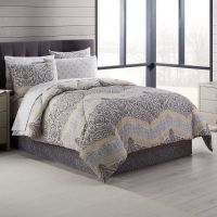 Neville Comforter Set in Grey/Yellow