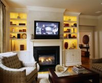 Bookcase lighting ideas living room traditional with