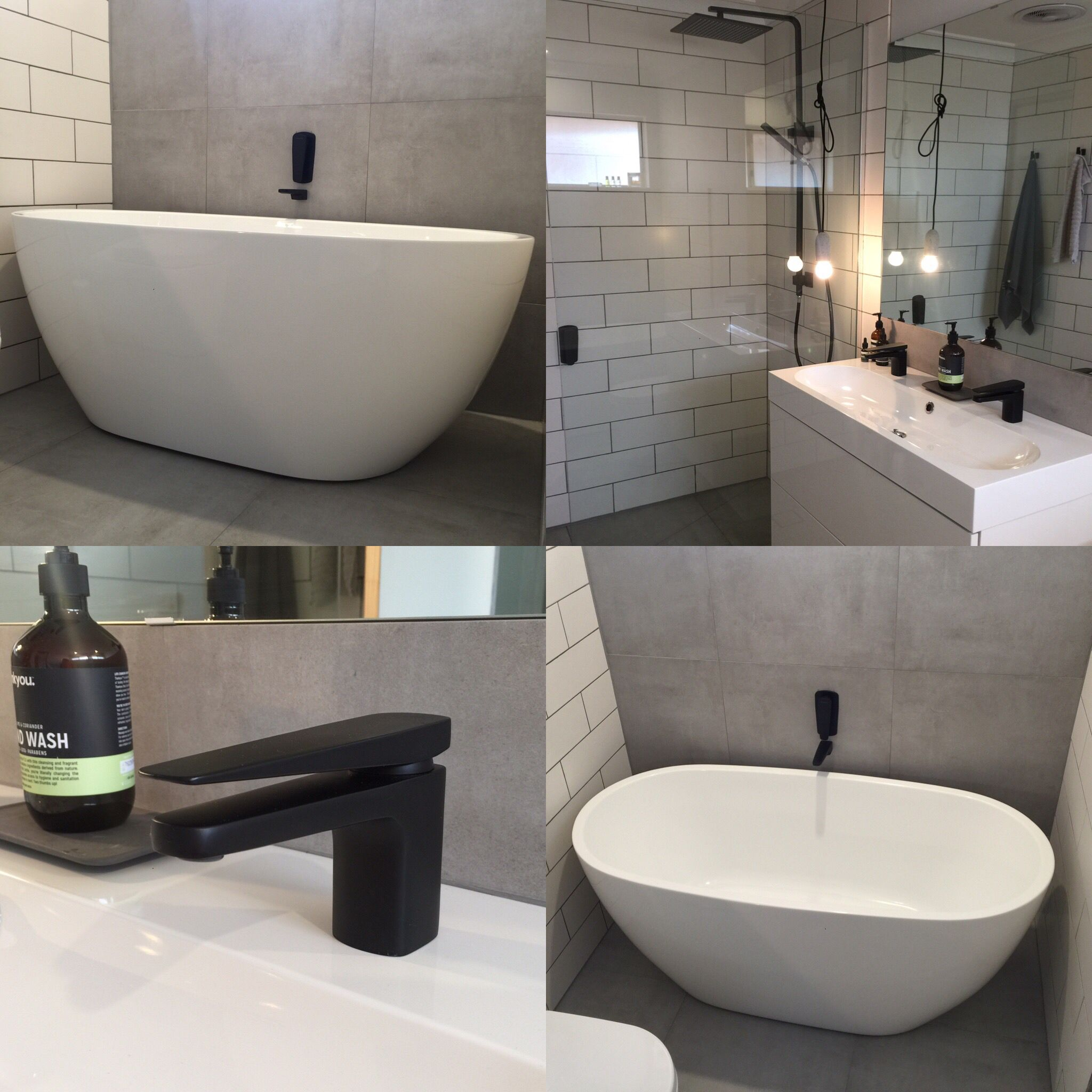 Mondella matte black tapware wall spout and wall mixers Meir matte black combination shower