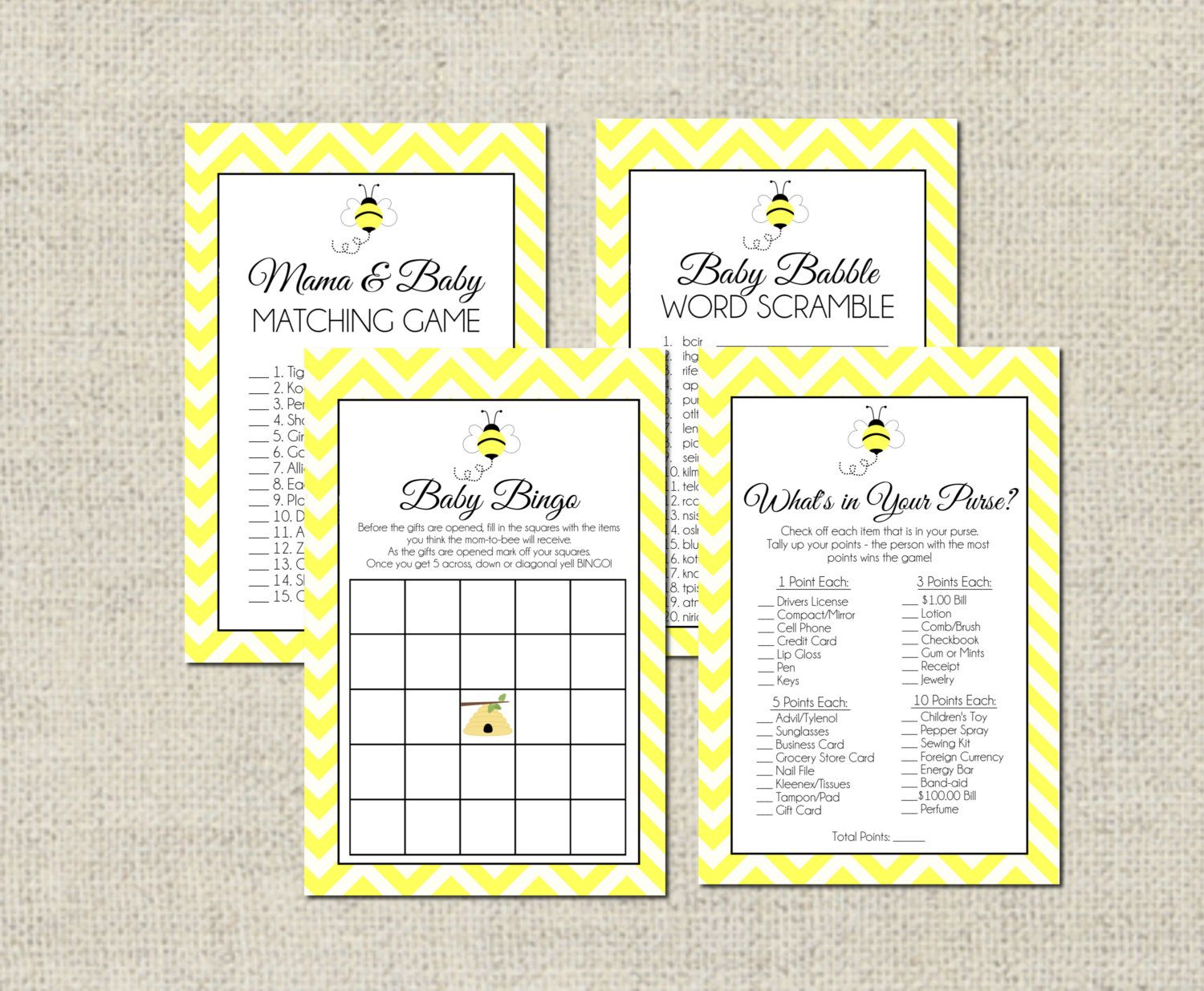 Bumble Bee Baby Shower Game Package By Geminicelebrations On Etsy 8 00