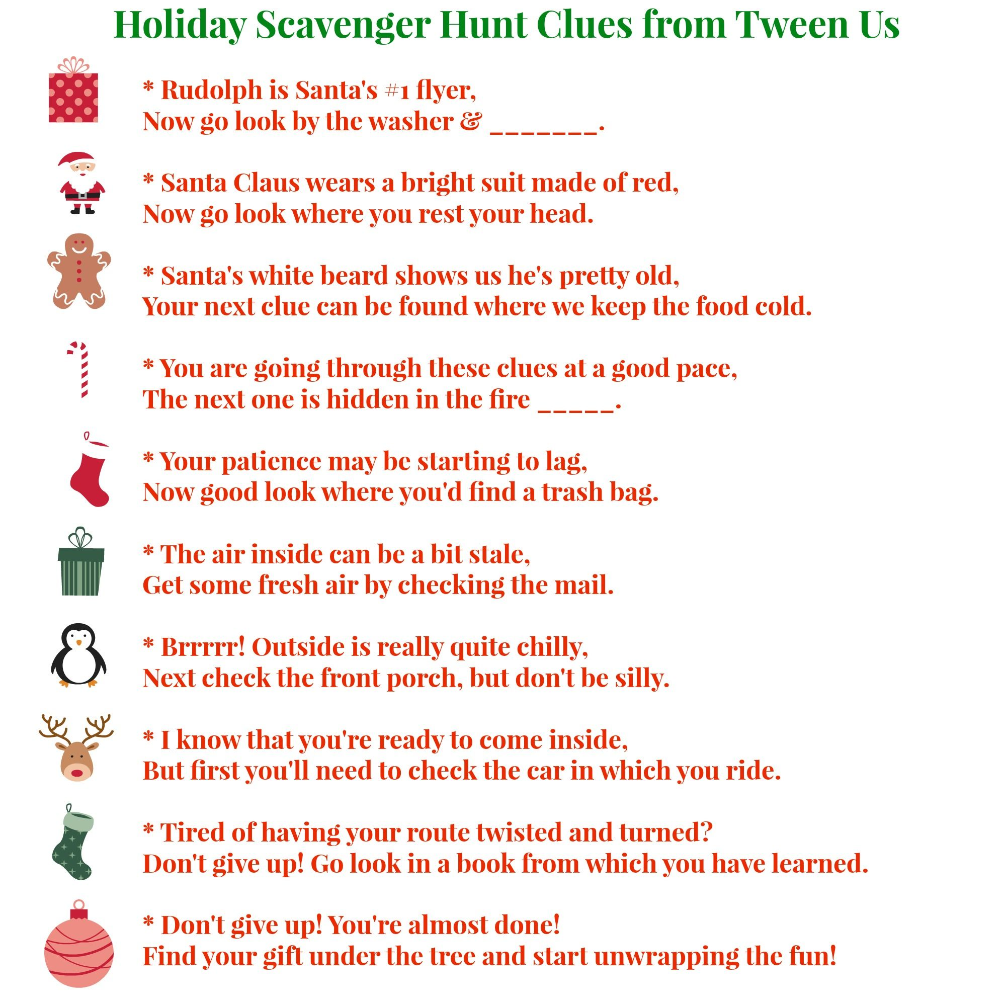 Christmas Scavenger Hunt Ideas Scavenger Hunt Clues From Tween