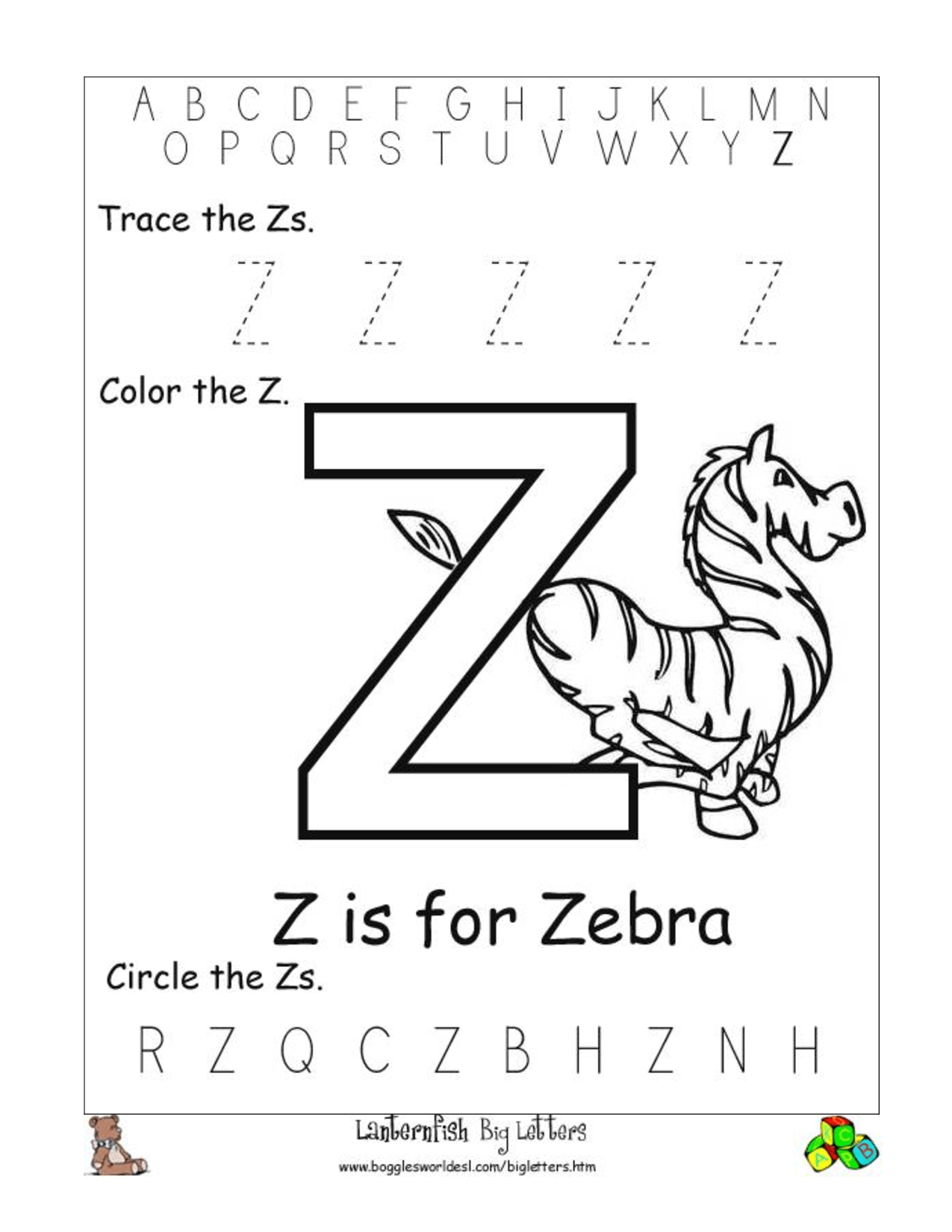 Alphabet Worksheets For Preschoolers Alphabet Worksheet Big Letter Z