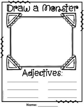 {FREE} Students draw a monster and then use six adjectives