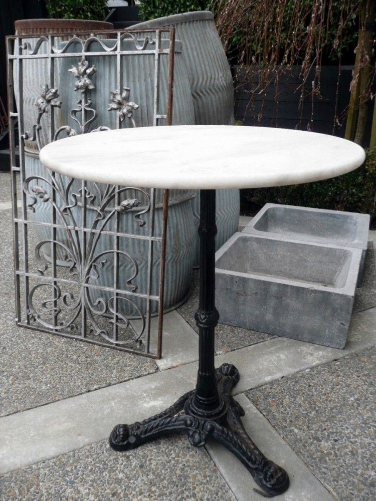 French Bistrot table with marble top c1940 amongst a grey