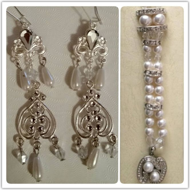 Chandelier Earringatching Bracelet Set In Silver With Swarovski Crystal And Pearls Made For