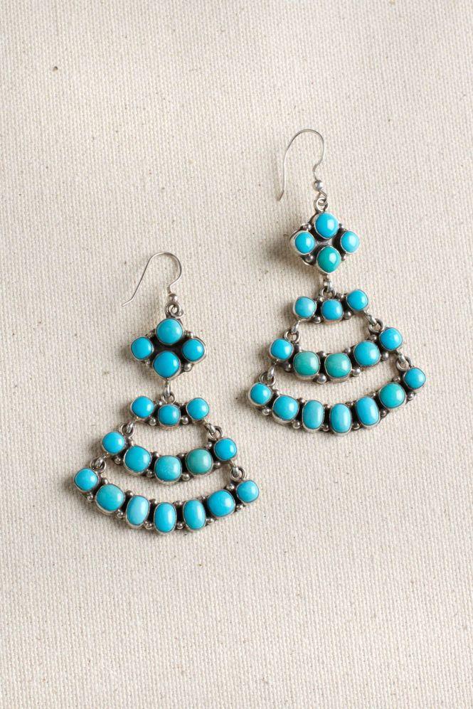 Navajo Sleeping Beauty Turquoise Chandelier Earrings