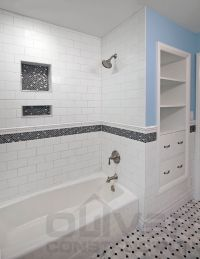 White with black accent bathroom. Subway tile with accent ...