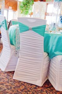 White Ruched Chair Cover, Tiffany Blue Spandex Sash, and ...
