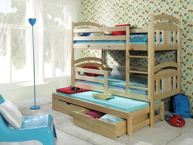 Wooden Triple Bunk Bed With Mattresses And Storage Drawers Reversable Ladder