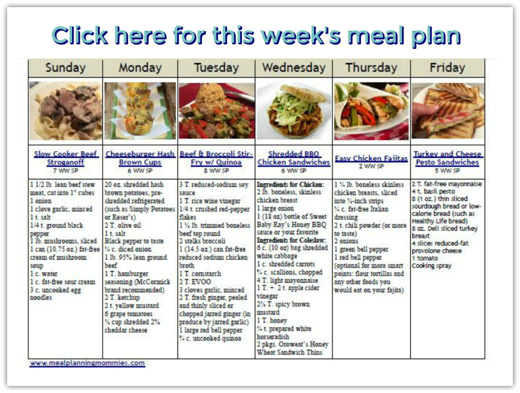 Weight Watcher Friendly Meal Plan 19 With Freestyle Smart