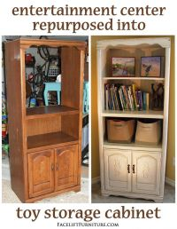 Entertainment Center Repurposed into Toy Cabinet