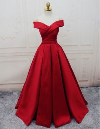 satin evening gowns,off the shoulder prom dress,burgundy ...