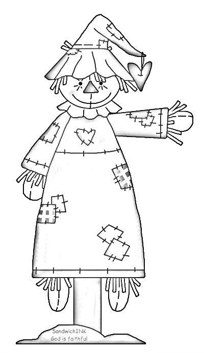 A fun scarecrow clipart and coloring page for all of us in