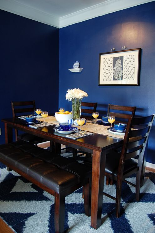 dark teal dining room chairs office chair arms glidden's rich navy, color matched to behr premium plus, paint with primer in it (low-voc, of ...