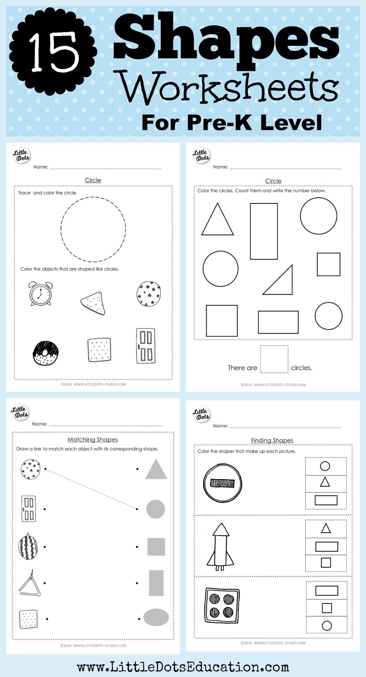 Download Shapes Worksheets For Pre K Or Preschool Class On Circle Square Triangle Rectangle