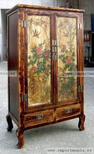 Armario oriental madera decorado  Muebles chinos
