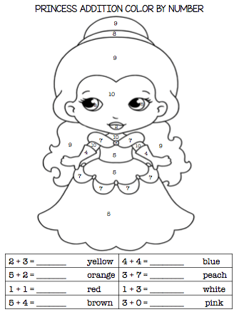 Kindergarten First Grade Princess Addition Subtraction
