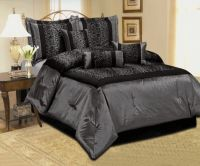 NEW LEOPARD SILVER GRAY BLACK COMFORTER SET SATIN BEDDING ...
