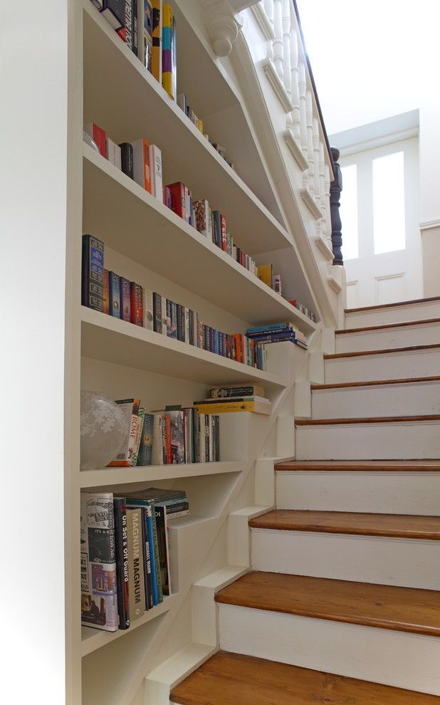 Bookcase Stairs Bookcase Built Into Stair Wall - Love! | Entry Way/stairs