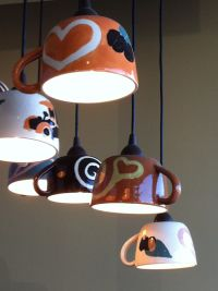 Coffee lamps in Coffee n Cream Dallas Texas ... Would be ...