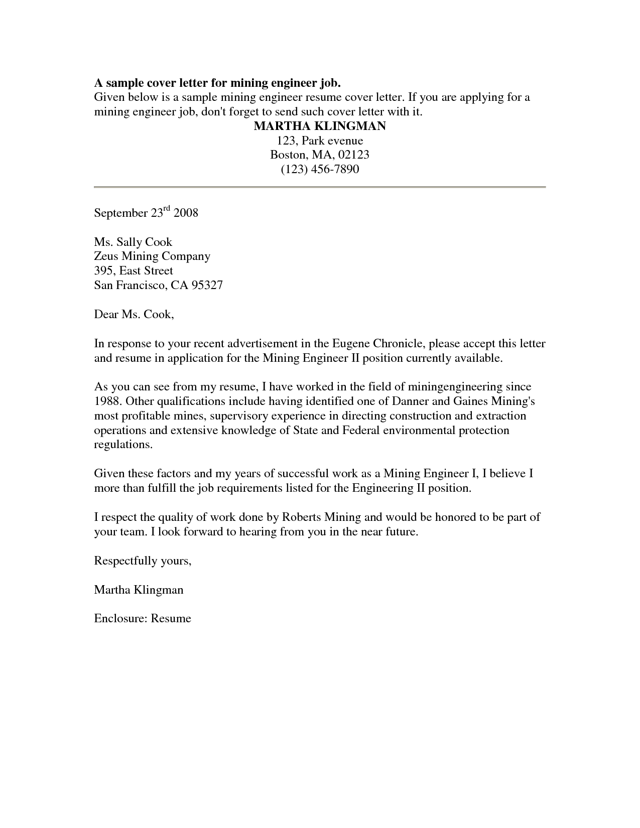 Sample Cover Letter For Resume Cover Letter Sample Free Sample Job Cover Letter For